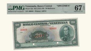 "VENEZUELA 20 Bolívares, 1941-1959, EE.UU. PMG67 EPQ ""SPECIMEN"""