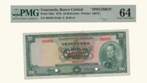 """VENEZUELA 20 Bolívares, Abril-11-1972,  PMG64 """"MUESTRA"""""""