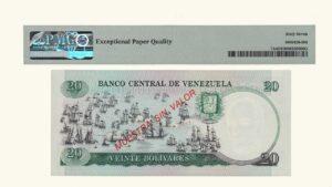 "VENEZUELA 20 Bolívares, Octubre-20-1987, Serie A8 PMG67 EPQ ""MUESTRA SIN VALOR"" (CONMEMORATIVO)"