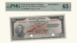 """VENEZUELA 50 Bolívares, 1961-63, PMG65 """"SPECIMEN SIN VALOR"""""""