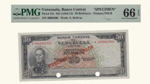 "VENEZUELA 50 Bolívares, 1964-1972, PMG66 EPQ ""ESPECIMEN SIN VALOR"""