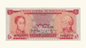 VENEZUELA 5 Bolívares, Junio-22-1971, Serie M7, XF+/AU