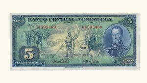 "VENEZUELA 5 Bolívares ""Dieguito"", Mayo-10-1966, Serie C7 XF+/AU"