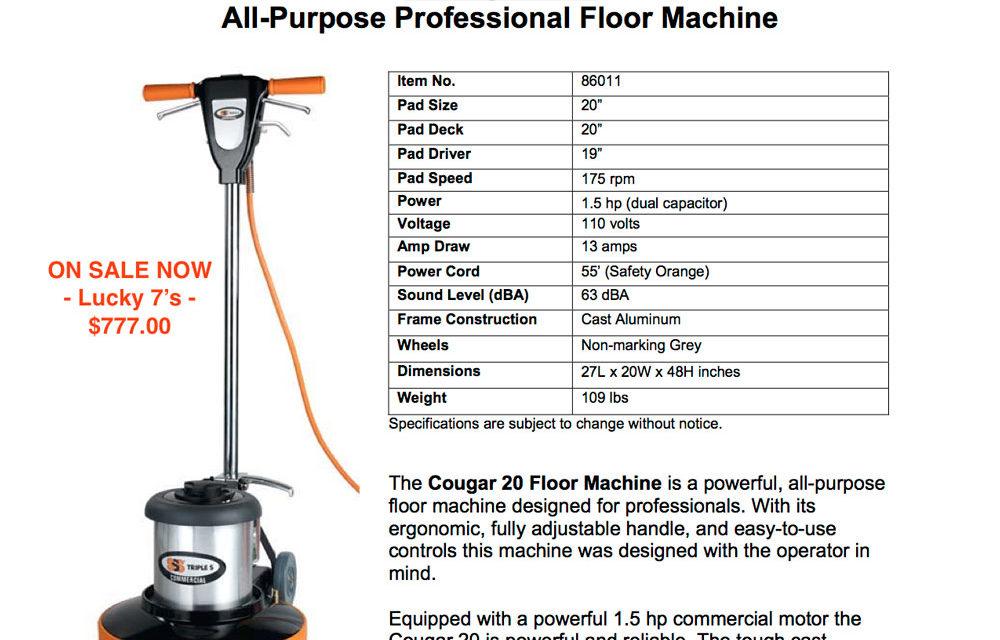 Cougar 2022 Floor Machine – $777.00