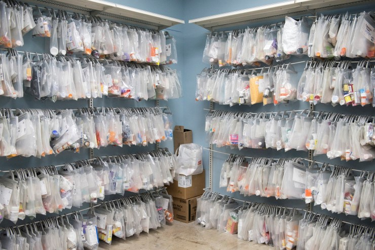 Bags of medication hang in Haven for Hope's medical-storage room. MATTHEW BUSCH