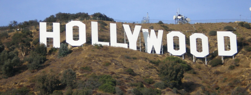 The Hollywood Sign, as seen from a nearby trail.