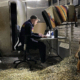 working remotely in a horse trailer, January 2021
