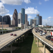 Interstate 45 approaching Houston downtown business district