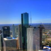 Houston's downtown, looking outward toward suburbs