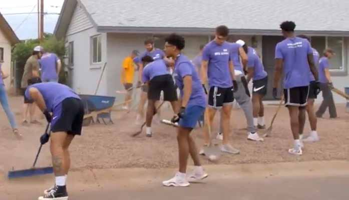 Grand Canyon University Basketball Team Gives Back to Community With Yardwork