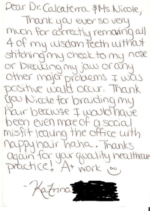 thank you note from patient to Dr. Calcaterra for removing her wisdom teeth third molars
