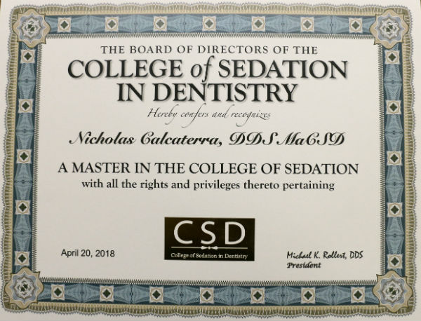 Dr. Nick Calcaterra Master College of Sedation in Dentistry