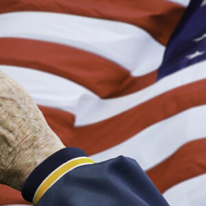 Photo of veteran saluting the flag