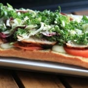 Grilled Chicken Flat Bread with Sweet Kale Salad