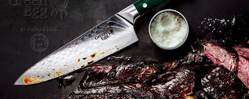 Limited Edition Big Green Egg Knives By Bokashi Steel-half