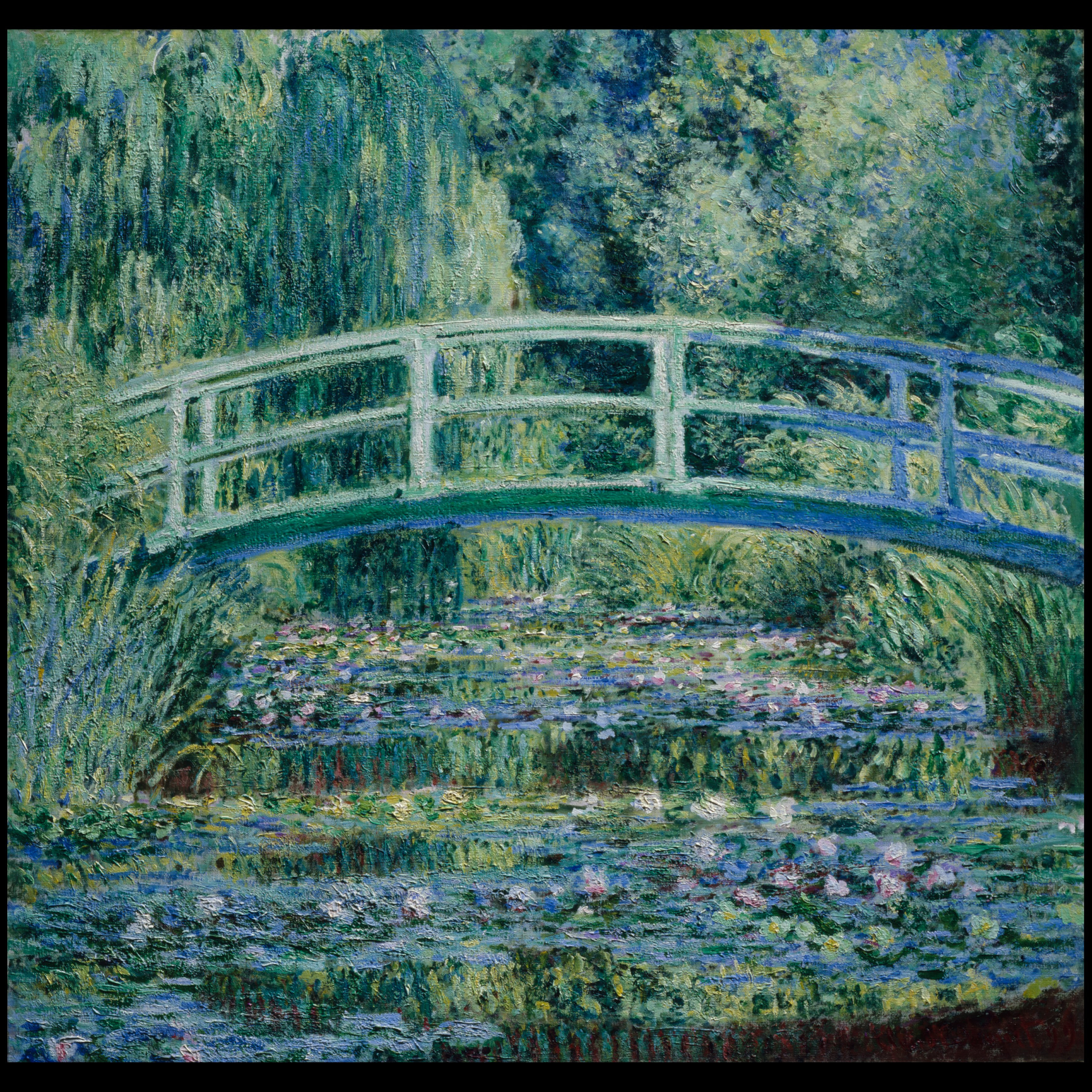 painting of water lilies and a Japanese bridge by Monet