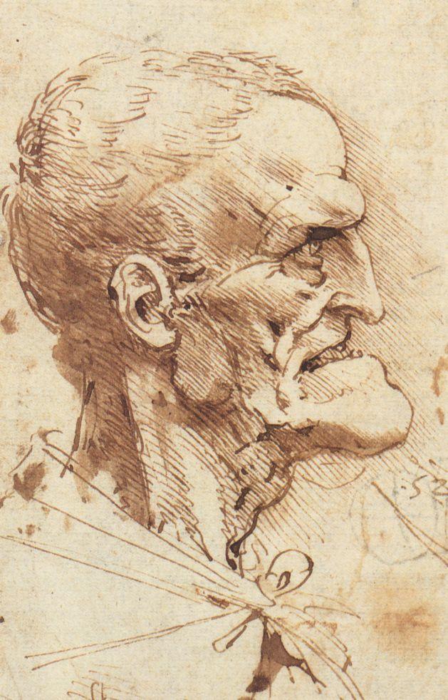 drawing of a grotesque face by Leonardo