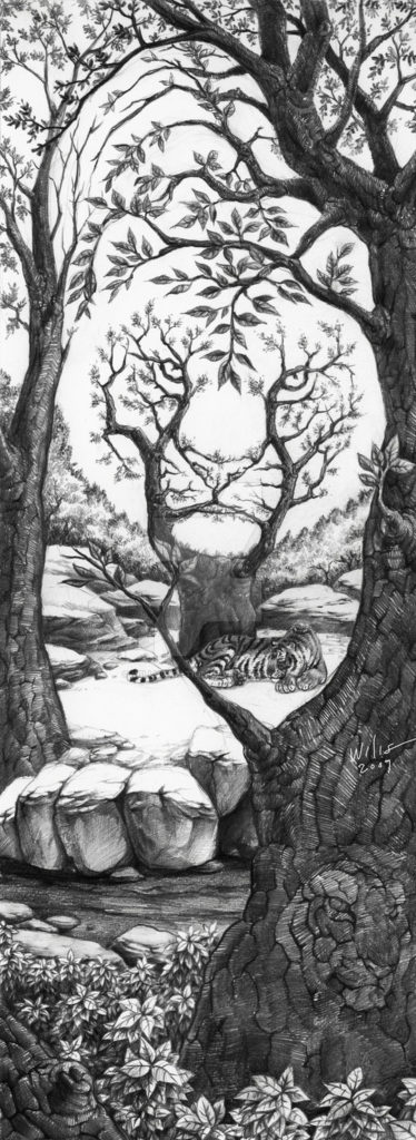 Image of a tiger hidden within trees