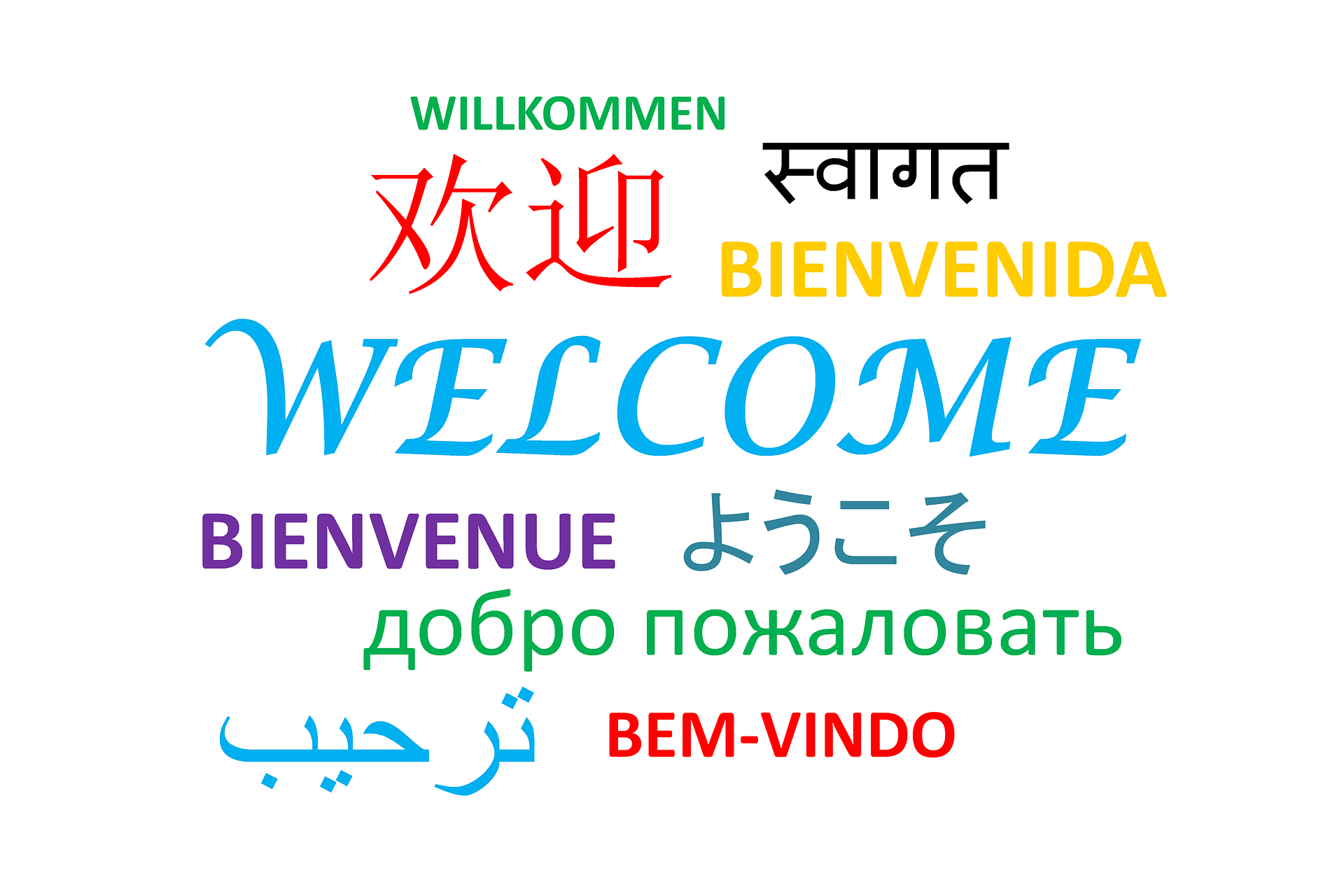 Welcome in diverse languages