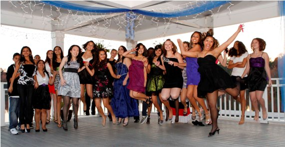 Girls at QUINCEAÑERAS party jumping with Exceitement.