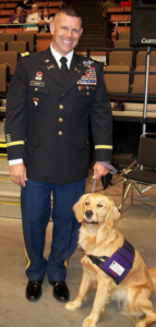 Jeff and Daisy, a Paws for Purple Hearts service dog