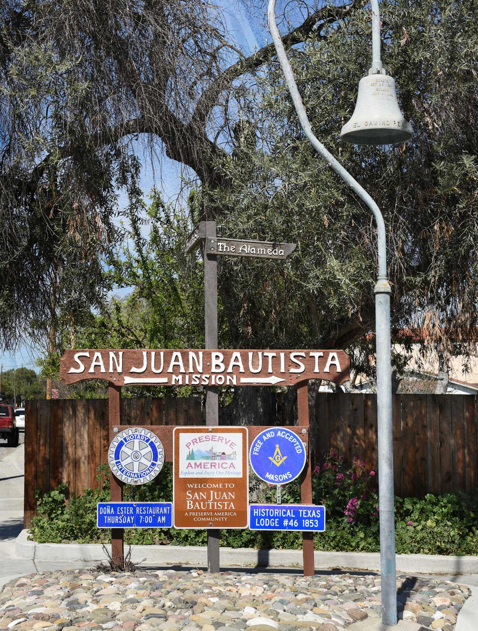 San Juan Bautista Welcome sign