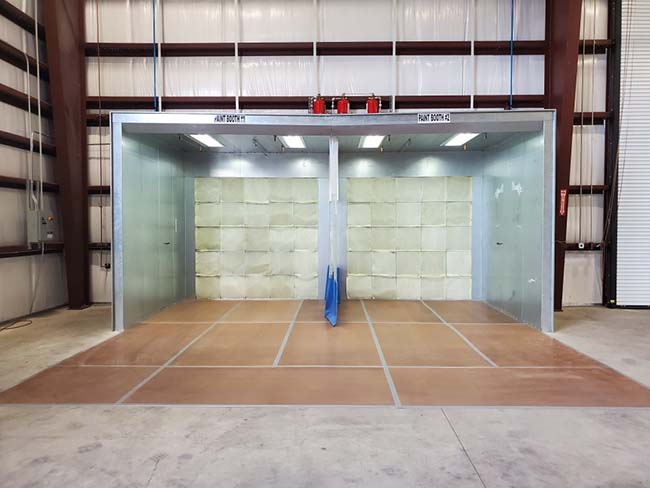Paint booth interior at Mitchell Industries