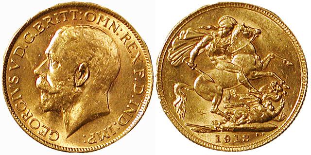 1913 Gold Sovereign of King George V
