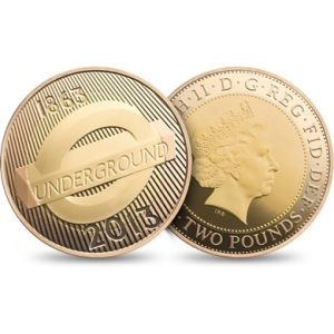 2013 London Underground Roundel Gold 2 Pounds