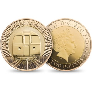 2013 London Underground Train Gold 2 Pounds