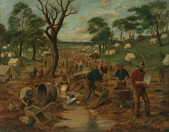An Australian gold diggings (circa 1855) by Edwin Stockqueler ~ http://cs.nga.gov.au/Detail.cfm?IRN=170523