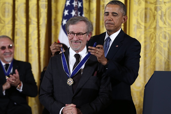 President Obama presents the Presidential Medal of Freedom to Steven Spielberg. ~ Photograph: Evan Vucci/AP