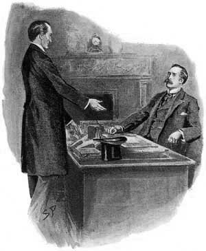 Sherlock Holmes was standing and smiling at me across my study table. - Illustration by Sidney Paget in The Strand Magazine, October 1903