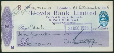 Lloyds Cox&King 1926 check
