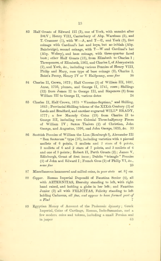 19130509 Sotheby Catalog Lots 83-89