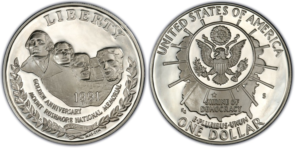 1991 Mt Rushmore Dollar