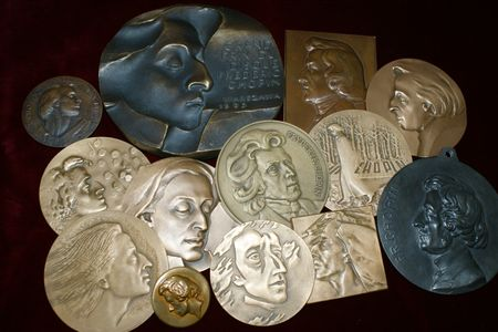There are numerous medals commemorating Chopin's musical prowess.