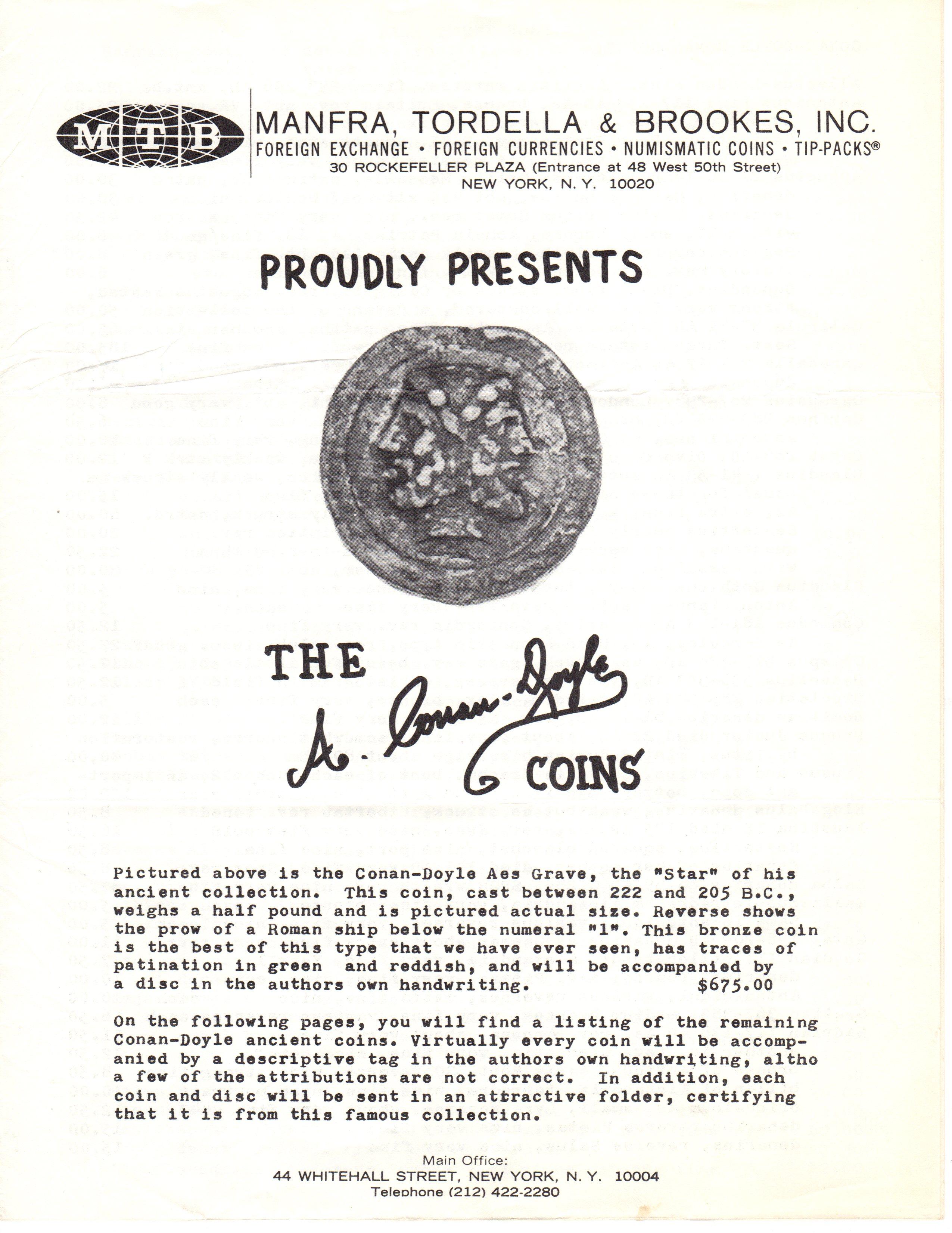 MTB's 1968 Price List of Arthur Conan Doyle's Ancient Coin Collection