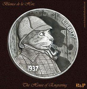 The Sherlock Cat 1937 Hobo Nickel by Blanca de la Hoz