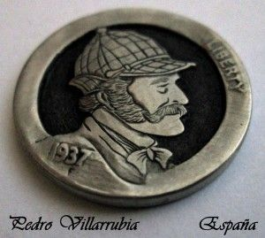 Sherlock Holmes 1937 Hobo Nickel by Pedro Villarrubia