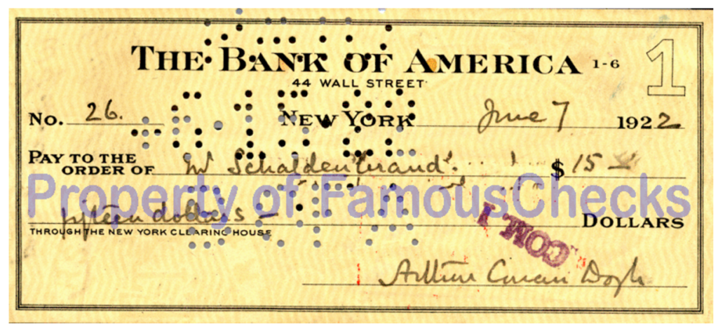 Reproduction of a 1922 check written by Arthur Conan Doyle ~ http://famous-celebrity-autographs.com