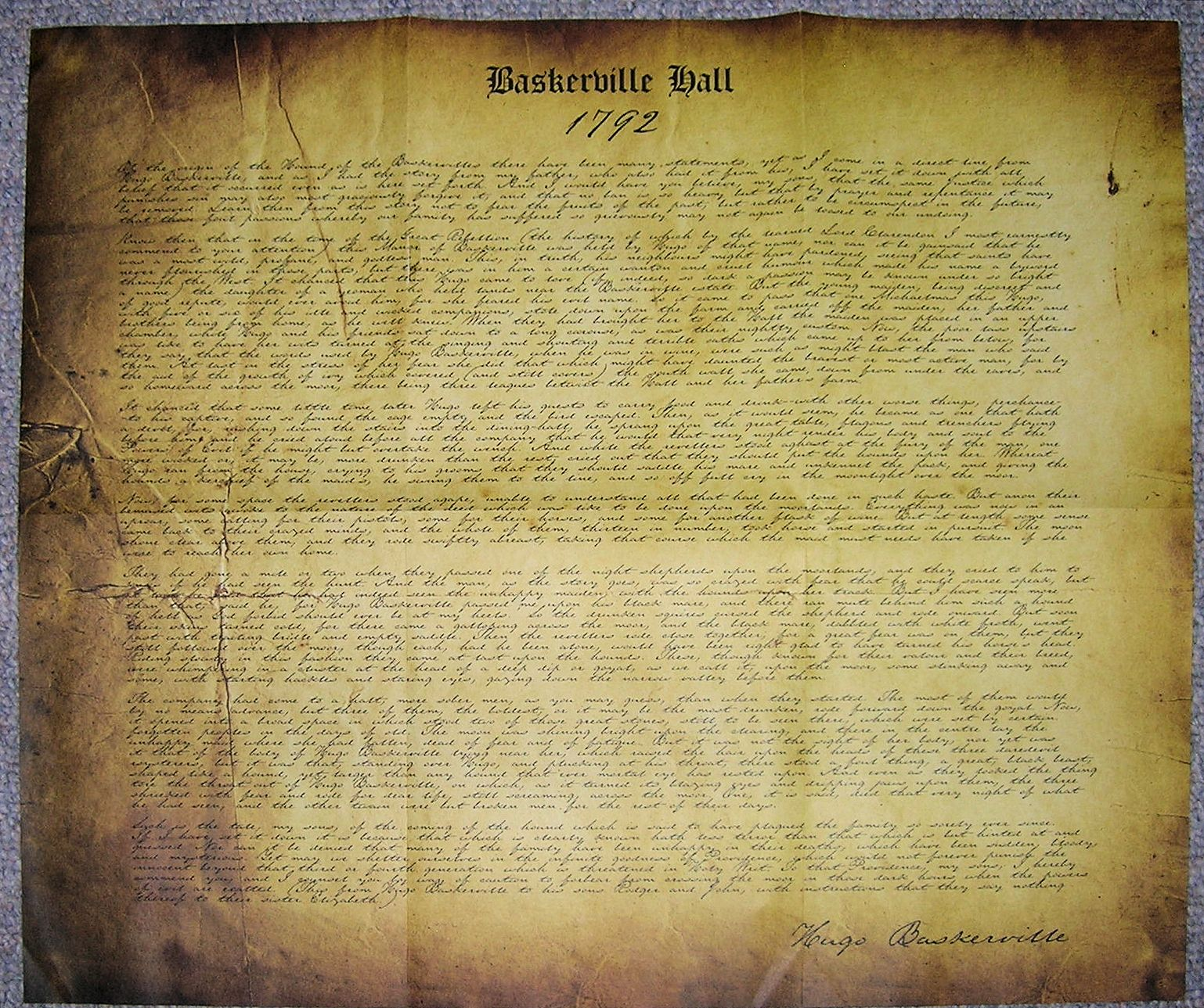 I looked over his shoulder at the yellow paper and the faded script. At the head was written: 'Baskerville Hall', and below, in large, scrawling figures: '1742'. - WTB HOUND Evidence Box
