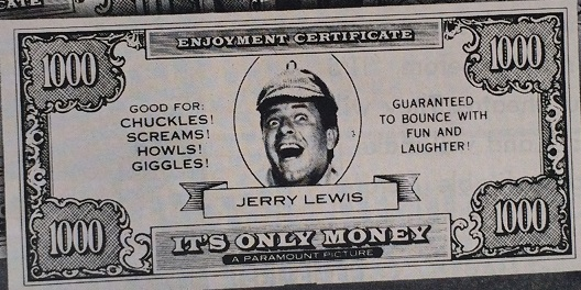 A Jerry Lewis Enjoyment Certificate with Theatre Imprint