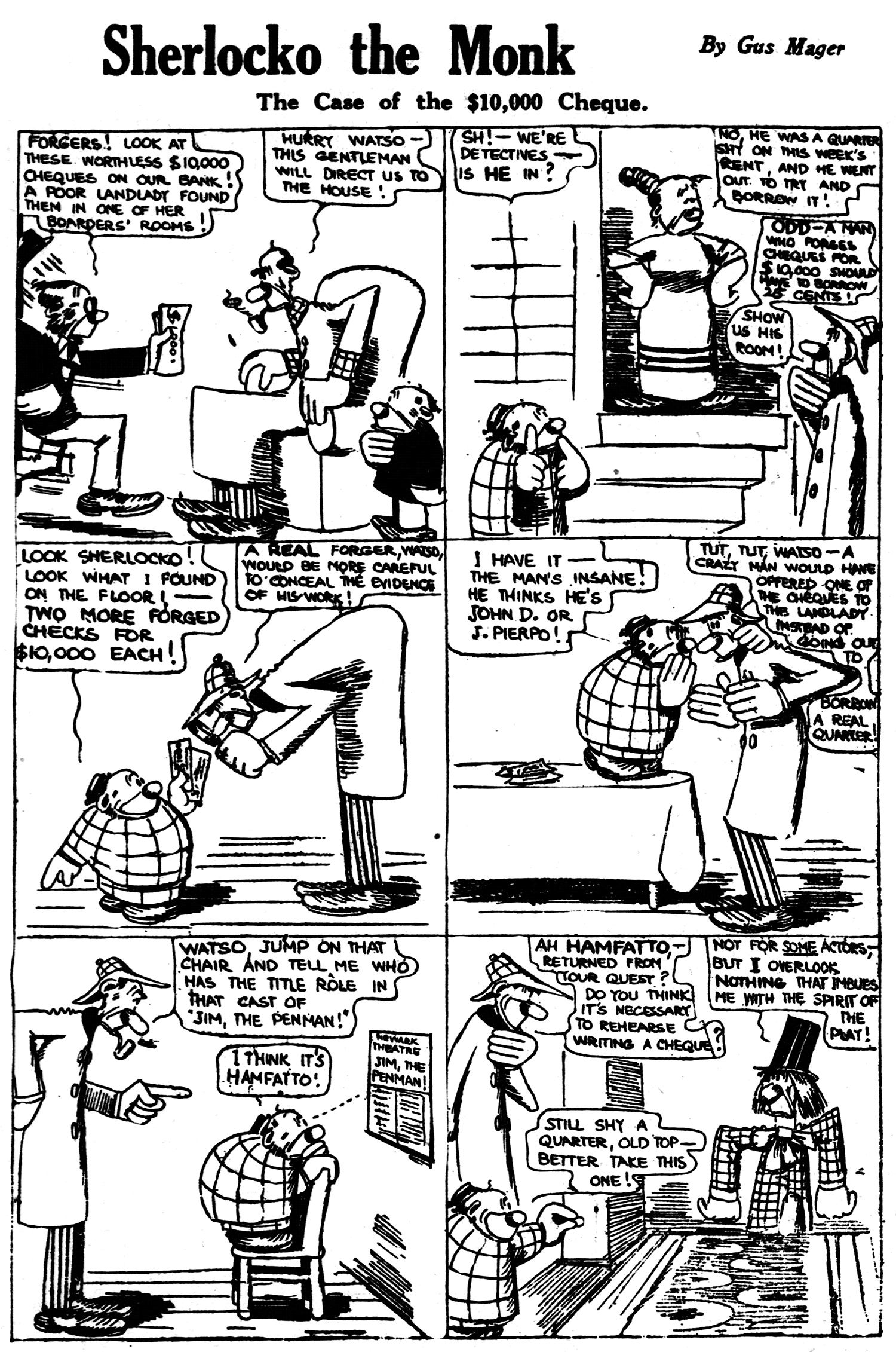 Sherlocko the Monk: The Case of the $10,000 Cheque (October 10, 1911)