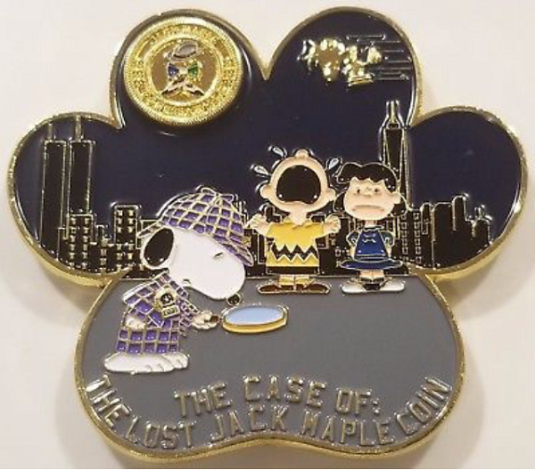 A NYPD Challenge Coin with Snoopy as Sherlock Hound