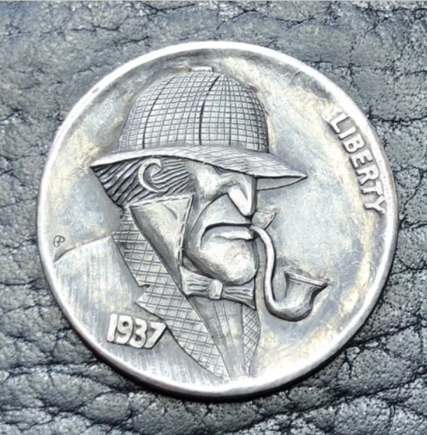 A 1937 Sherlockian Hobo Nickel by Gediminas Palsis
