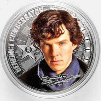 """The 2018 Russian 25 Rubles """"Hooray for Hollywood"""" Coin Featuring Cumberbatch"""