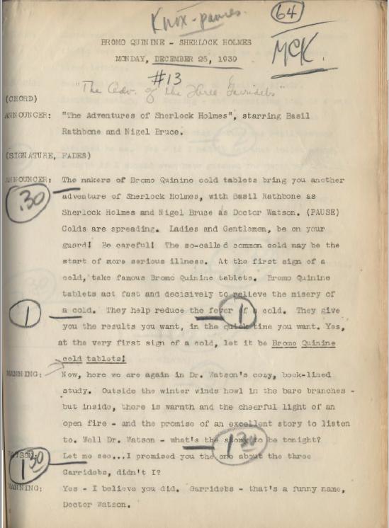 The Fourth Garrideb broadcast of the 12/25/1939 3GAR Radio Script