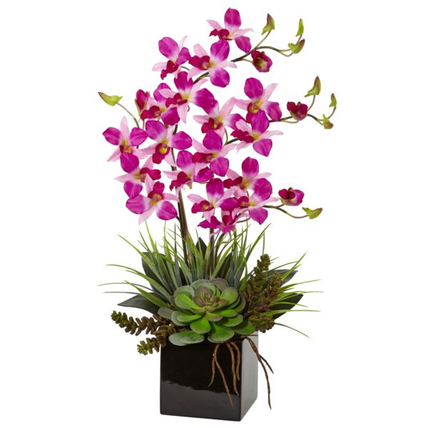 Nearly Natural Exotic Flower Arrangement