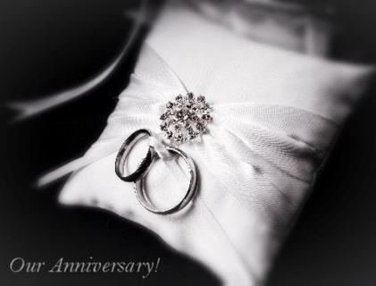 Our Anniversary - Rings on Pillow